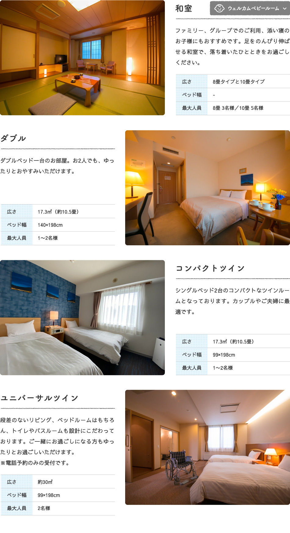部屋タイプ:和室、ダブル、コンパクトツイン、ユニバーサルツイン